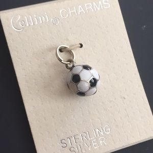 Sterling silver charm black and white soccer ball